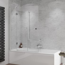 HSK Aperto two-way hinged bath screen door with fixed panel TSG light clear / chrome look