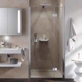 HSK Aperto two-way hinged door with fixed panel for recess TSG light clear with shield coating / chrome look