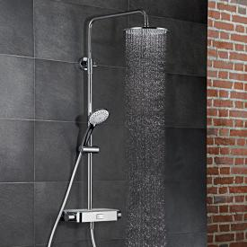 HSK AquaSwitch RS 200 thermostat shower set with flat overhead shower white