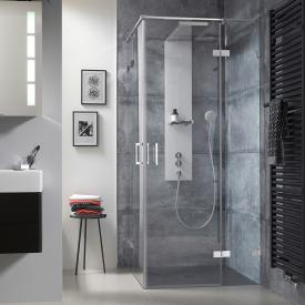 HSK Atelier Plan Pur hinged door corner entry 4-part TSG light clear with shield coating / chrome look