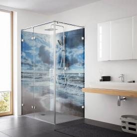 HSK Atelier Plan Pur hinged door with fixed panel and side panel TSG clear light refined glass / chrome look