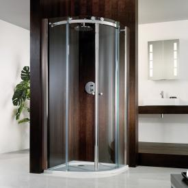 HSK Atelier Porte coulissante en 1/4 de cercle verre sécurit transparent avec verre précieux / aspect chromé