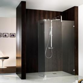 HSK Atelier Pur Walk In shower panel with hinged side part TSG light clear with shield coating / chrome look