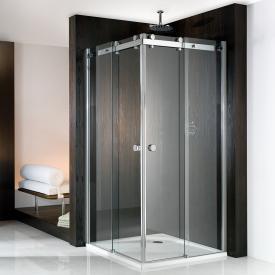 HSK Atelier sliding door corner entry 4-part TSG light clear / chrome look