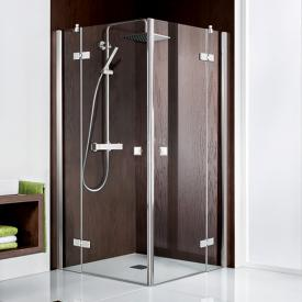 HSK Atelier two-way hinged door, corner entry 4- part TSG light clear with shield coating / chrome look