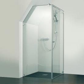 HSK Edition Kienle hinged door with side panel TSG clear light shield / stainless steel look