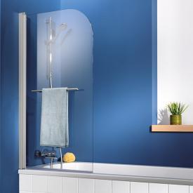 HSK Exklusiv bath screen 1-part with towel rail real glass, light clear / aluminium matt silver