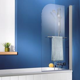 HSK Exklusiv bath screen 1-part with towel rail real glass, light clear / aluminium matt silver