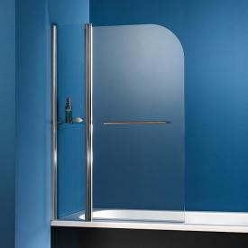 HSK Exklusiv bath screen 2-part with towel rail and glass shelf shield coating, light clear / chrome look