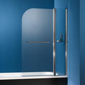 HSK Exklusiv bath screen 2-part with towel rail and glass shelf TSG light clear with shield coating / chrome look