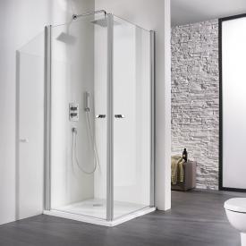 HSK Exklusiv swing door corner entry light clear shield coating / matt silver, STIM 88.5-90.5 cm