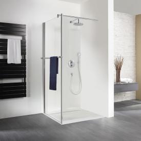 HSK Exklusiv Paroi latérale avec porte-serviettes pour porte battante Verre trempé traité transparent et clair / aspect chromé