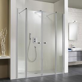 HSK Exklusiv pivot door for recess 4-part TSG light clear / matt silver
