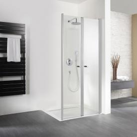 HSK Exklusiv pivot door for side panel TSG light clear with shield coating / matt silver