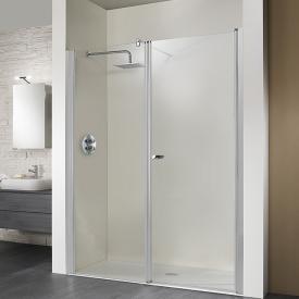 HSK Exklusiv pivot door with adjacent part for recess TSG light clear / matt silver