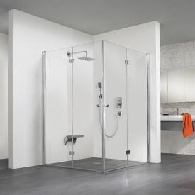 HSK Exklusiv Porte pivotante-pliante pour entrée d'angle Verre trempé traité transparent et clair / aspect chromé