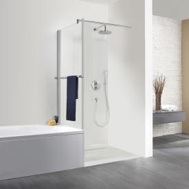 HSK Exklusiv short side panel for pivot door with towel rail TSG light clear / matt silver
