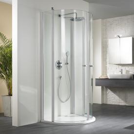 HSK Exklusiv swing door D-shaped light clear shield coating / matt silver