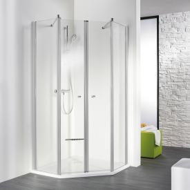 HSK Exklusiv swing door light clear / matt silver, STIM 88.5-90.5 cm