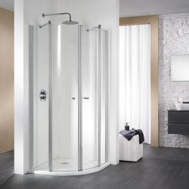 HSK Exklusiv swing door quadrant light clear / matt silver, STIM 88.5-90.5 cm
