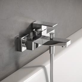 HSK exposed bath filler and single lever shower mixer, square