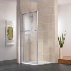 HSK Favorit side panel with towel rail acrylic glass, light drops / matt silver