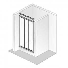 HSK Favorit sliding door 3-part acrylic glass, light drops / matt silver