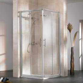 HSK Favorit sliding door corner entry real glass, clear light / aluminium matt silver