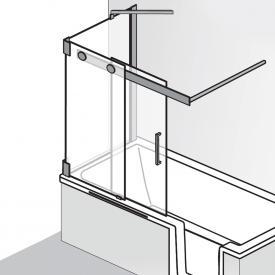 HSK K2P bath screen sliding door, 2 part + side panel TSG light clear, shield coating / chrome