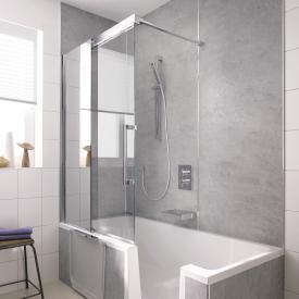 HSK K2P bath screen sliding door, 2 part TSG light clear, shield coating / chrome