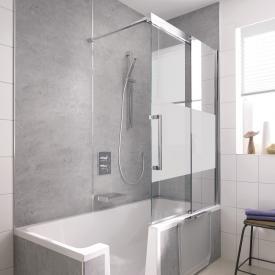HSK K2P bath screen sliding door, 2 part TSG matt centre, shield coating / chrome