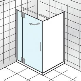 HSK K2P hinged door with fixed panel for side panel TSG light clear with shield coating / chrome look