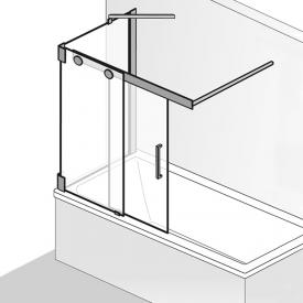HSK K2P sliding bath screen with side panel, 2-part TSG light clear with shield coating / chrome look