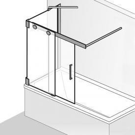 HSK K2P sliding bath screen with side panel, 2-part TSG light clear / chrome look