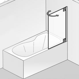 HSK K2P two-way hinged bath screen TSG light clear with shield coating / chrome look