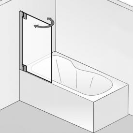 HSK K2P two-way hinged bath screen with fixed panel TSG light clear / chrome look