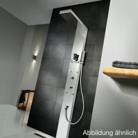 HSK Lavida floorstanding shower panel, suspended rain traverse polished stainless steel/white