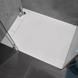 HSK marble-polymer rectangular shower tray with edge drain white