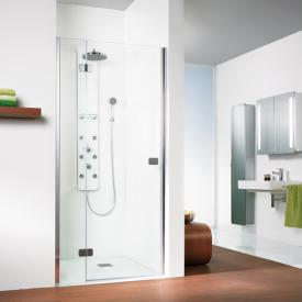 HSK Premium Softcube hinged door with fixed panel for recess TSG light clear with shield coating / chrome look