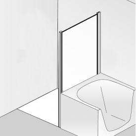 HSK Premium Softcube short side panel for two-way hinged door with fixed panel TSG light clear / chrome look