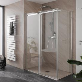 HSK Premium Softcube sliding door 2-part with side panel TSG light clear with shield coating / chrome look