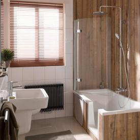 HSK Premium Softcube two-way hinged bath screen with fixed panel TSG light clear with shield coating / chrome look