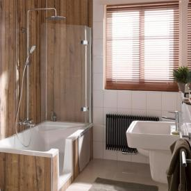 HSK Premium Softcube two-way hinged bath screen with fixed panel TSG light clear / chrome look