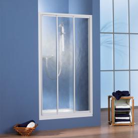 HSK Prima Porte coulissante, 3 éléments Verre sythétique clair effet goutes d'eau / argent mat