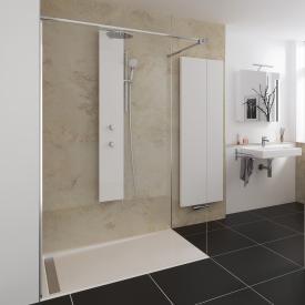HSK Pro Concept Walk In shower panel, 1 part TSG light clear, shield coating / chrome