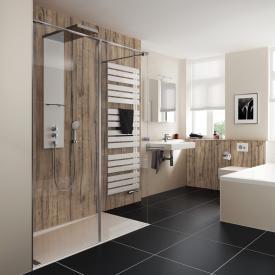 HSK Pro Concept Walk In shower panel, 2 part TSG light clear, shield coating / chrome