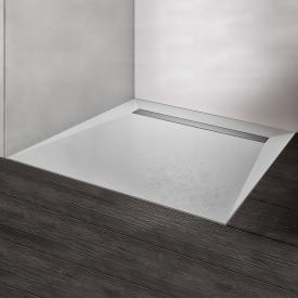 HSK RenoDeco rectangular shower tray with integrated drain channel white grey