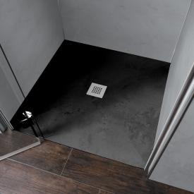 HSK RenoDeco rectangular shower tray with point drain graphite grey