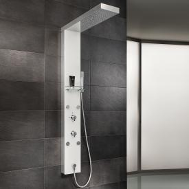 HSK shower panel Lavida shortened W: 210 H: 1600 D: 670 mm free hanging rain traverse polished stainless steel/white glass front