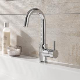 HSK single lever basin mixer, round, high without waste set